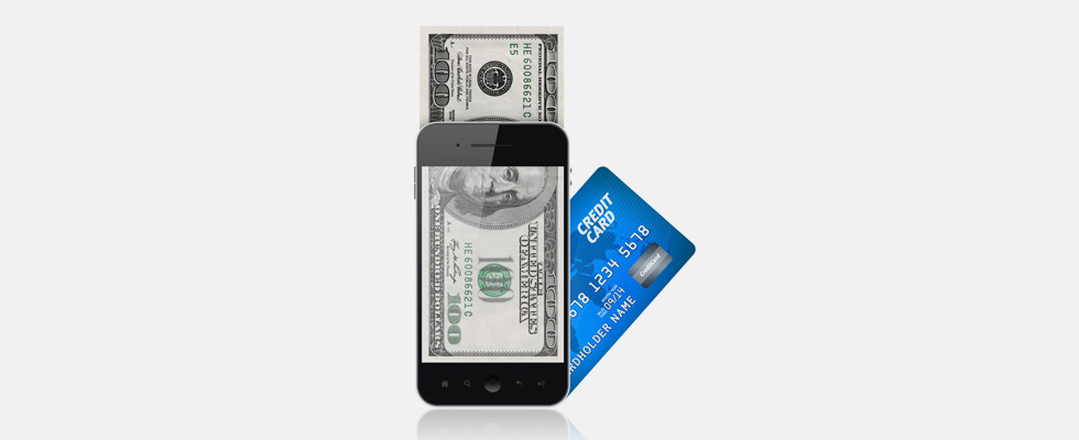 mobile wallet - cell phone and credit card